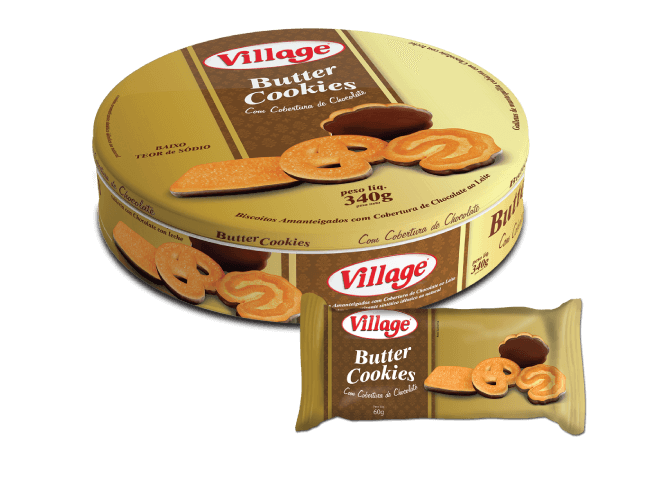 Biscoito Butter Cookie Com Chocolate Village